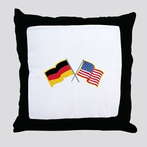 German American Flags Throw Pillow