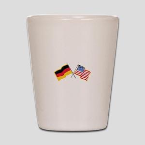 German American Flags Shot Glass