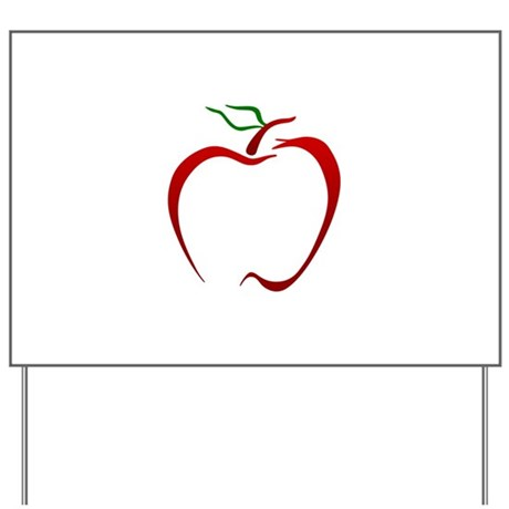 Apple Outline Yard Sign by GrandSlamDesigns07