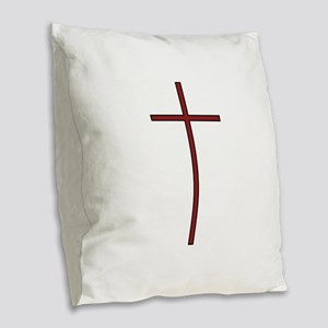 Cross Burlap Throw Pillow