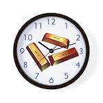 3 Gold Bars Wall Clock