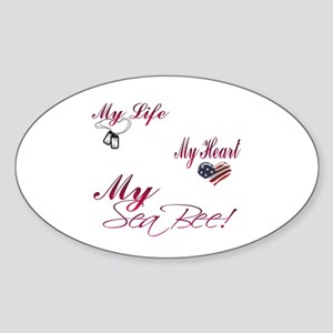 my life my heart my seabee Oval Sticker