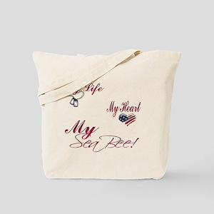 my life my heart my seabee Tote Bag
