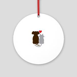 Dog Heart Cat Ornament (Round)