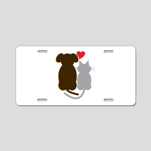 Dog Heart Cat Aluminum License Plate
