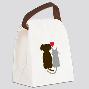 Dog Heart Cat Canvas Lunch Bag