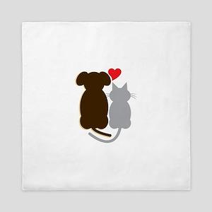 Dog Heart Cat Queen Duvet