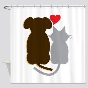 Dog Heart Cat Shower Curtain