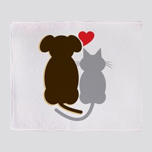 Dog Heart Cat Throw Blanket
