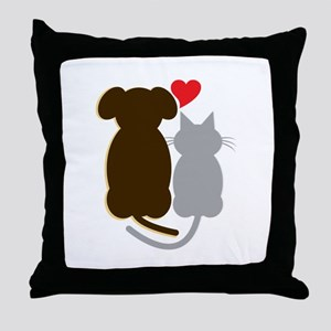 Dog Heart Cat Throw Pillow