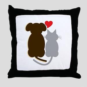 Dog Heart Cat Throw Pillow