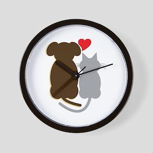 Dog Heart Cat Wall Clock