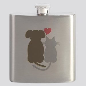 Dog Heart Cat Flask