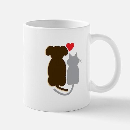 Dog Heart Cat Mugs