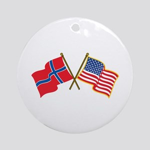 Norwegian American Flags Ornament (Round)