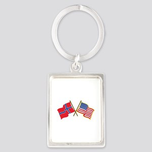 Norwegian American Flags Keychains