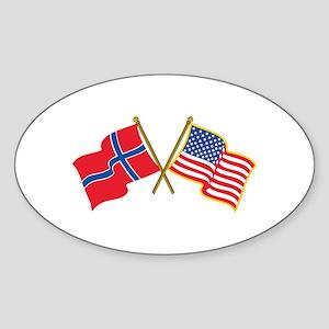 Norwegian American Flags Sticker