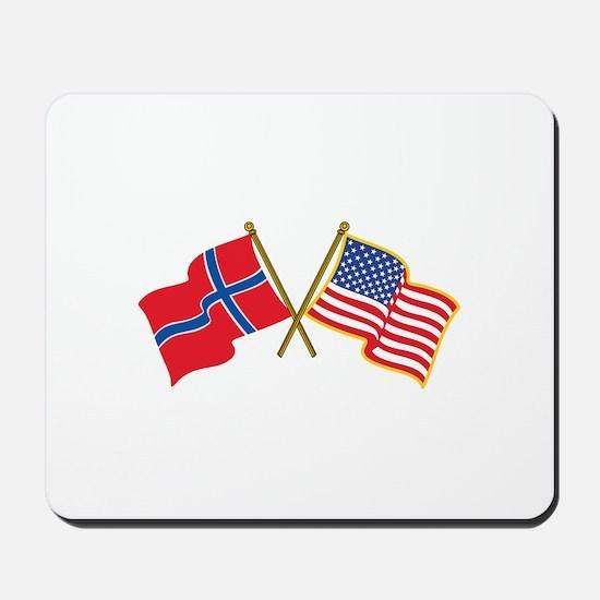 Norwegian American Flags Mousepad