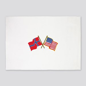 Norwegian American Flags 5'x7'Area Rug
