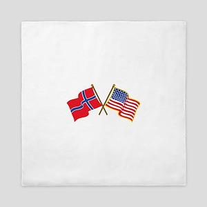 Norwegian American Flags Queen Duvet