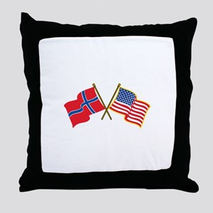 Norwegian American Flags Throw Pillow