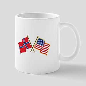 Norwegian American Flags Mugs