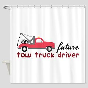 Future Tow Truck Dreiver Shower Curtain