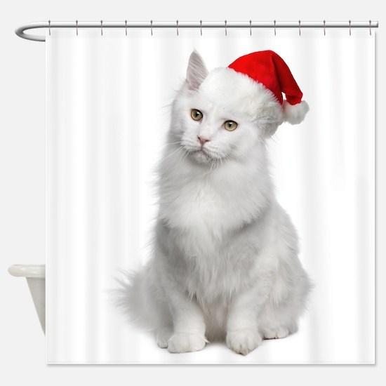 Angora Santa Cat Shower Curtain