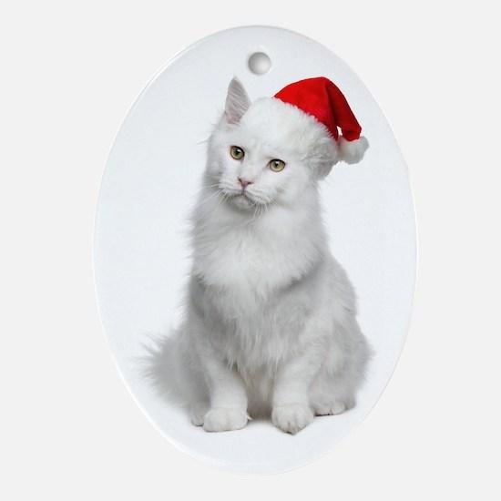 Angora Santa Cat Ornament (Oval)
