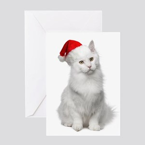 Angora Santa Cat Greeting Cards