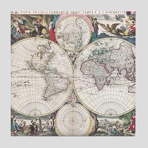 Vintage Map of The World (1685) Tile Coaster