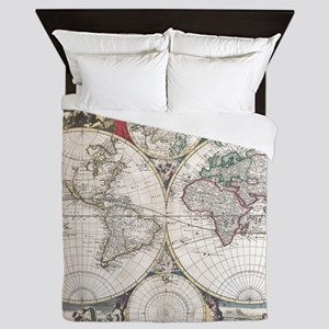 Vintage Map of The World (1685) Queen Duvet
