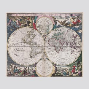 Vintage Map of The World (1685) Throw Blanket