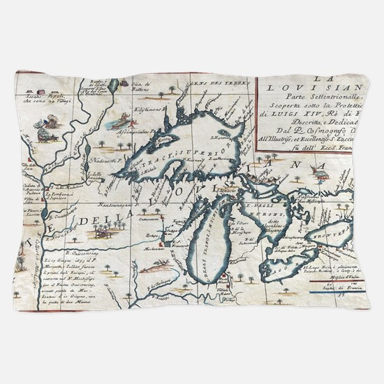 Vintage Map of The Great Lakes (1696) Pillow Case