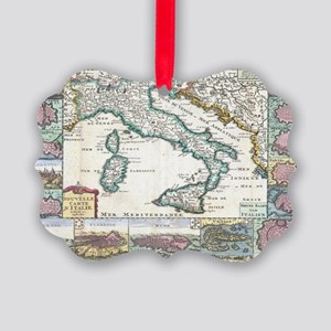 Vintage Map of Italy (1706) Picture Ornament