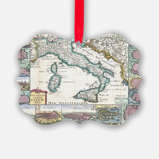 Vintage Map of Italy (1706) Ornament
