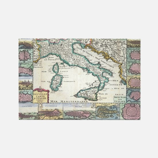 Vintage Map of Italy (1706) Rectangle Magnet