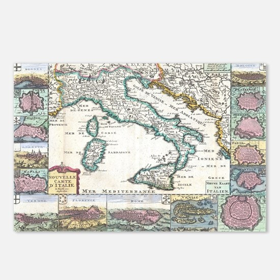 Vintage Map of Italy (170 Postcards (Package of 8)