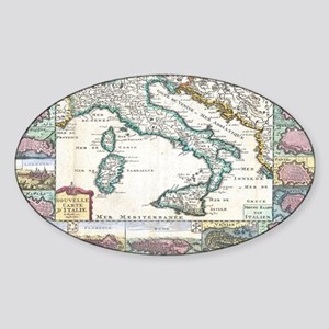Vintage Map of Italy (1706) Sticker (Oval)
