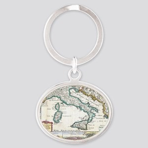 Vintage Map of Italy (1706) Oval Keychain