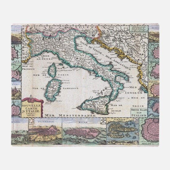 Antique map throw blankets antique map fleece blankets stadium vintage map of italy 1706 throw blanket gumiabroncs Image collections