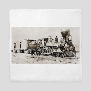 old west trains Queen Duvet