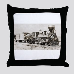 old west trains Throw Pillow