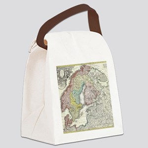 Vintage Map of Scandinavia (1730) Canvas Lunch Bag