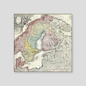 "Vintage Map of Scandinavia  Square Sticker 3"" x 3"""