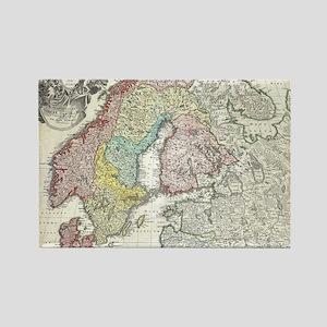Vintage Map of Scandinavia (1730) Rectangle Magnet