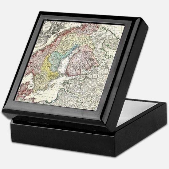 Vintage Map of Scandinavia (1730) Keepsake Box