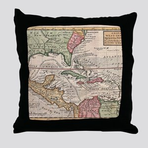 Vintage Map of the Caribbean (1732) Throw Pillow