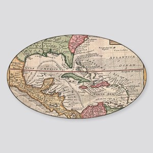 Vintage Map of the Caribbean (1732) Sticker (Oval)
