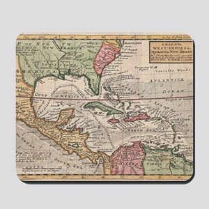 Vintage Map of the Caribbean (1732) Mousepad